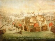 The Battle of Malaga, 13 August 1704 painting reproduction, Isaac Sailmaker