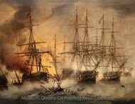 The Battle of Navarino, 20 October 1827 painting reproduction, Thomas Luny