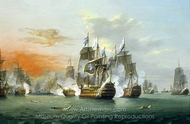 The Battle of the Saints, 12 April 1782 painting reproduction, Thomas Luny