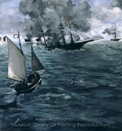 The Battle of the U.S.S. Kearsarge and the C.S.S. Alabama painting reproduction, Édouard Manet