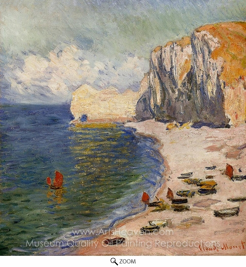 Claude Monet, The Beach and the Falaise d'Amont oil painting reproduction