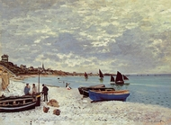 The Beach at Sainte-Adresse painting reproduction, Claude Monet
