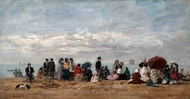 The Beach at Trouville painting reproduction, Eugene-Louis Boudin