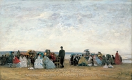 The Beach Near Trouville painting reproduction, Eugene-Louis Boudin