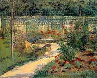 The Bench (My Garden) painting reproduction, Édouard Manet
