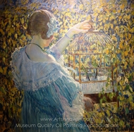 The Bird Cage painting reproduction, Frederick Carl Frieseke