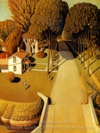 The Birthplace of Herbert Hoover painting reproduction, Grant Wood