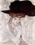 The Black Feather Hat painting reproduction, Gustav Klimt