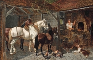 The Blacksmith's Forge painting reproduction, John Frederick Herring Sr.