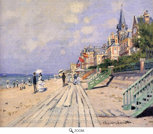 Claude Monet, The Boardwalk at Trouville oil painting reproduction