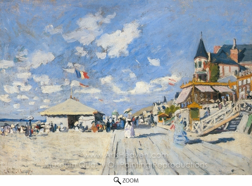 Claude Monet, The Boardwalk on the Beach at Trouville oil painting reproduction