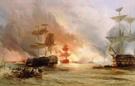 The Bombardment of Algiers, 27 August 1816 painting reproduction, George Chambers Senior