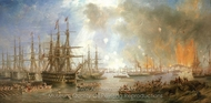 The Bombardment of Sveaborg, 9 August 1855 painting reproduction, John Wilson Carmichael