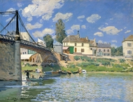 The Bridge at Villeneuve-la-Garenne painting reproduction, Alfred Sisley