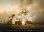 The Brunswick and the Vengeur du Peuple at the Battle of the First of June 1794 painting reproduction, Nicholas Pocock
