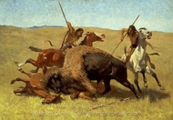 The Buffalo Hunt painting reproduction, Frederic Remington