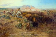 The Buffalo Hunt painting reproduction, Charles Marion Russell