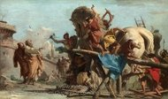 The Building of the Trojan Horse painting reproduction, Giovanni Battista Tiepolo