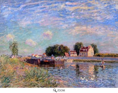 Alfred Sisley, The Canal at Saint-Mammes oil painting reproduction