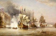The Capture of Puerto Bello, 21 November 1739 painting reproduction, George Chambers Senior