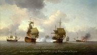 The Capture of the Glorioso, 8 October 1747 painting reproduction, Charles Brooking