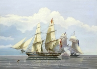 The Capture of the Slave Formidable by HMS Buzzard painting reproduction, William John Huggins