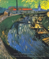 "The Channel ""La Roubine du Roi"" with Washer Women painting reproduction, Vincent Van Gogh"