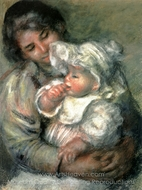 The Child with its Nurse painting reproduction, Pierre-Auguste Renoir