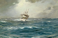 The Chilean Navy's Training Ship General Baquedano off Las Evangelistas, Chile painting reproduction, Thomas Jacques Somerscales