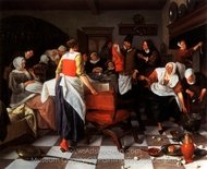 The Christening Feast painting reproduction, Jan Steen