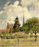 The Church at Eragny painting reproduction, Camille Pissarro