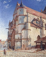 The Church at Moret in the Morning Sun painting reproduction, Alfred Sisley