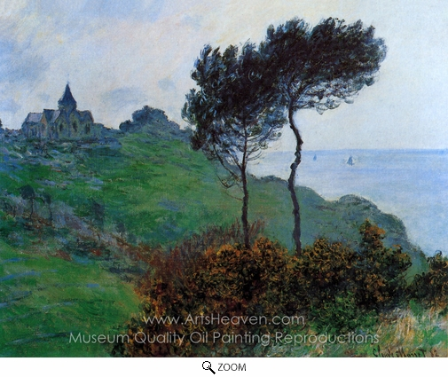 Claude Monet, The Church of Varengeville, Cloudy Weather oil painting reproduction
