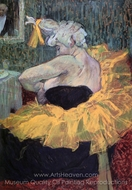 The Clowness Chau-U-Keo Fastening Her Bodice painting reproduction, Henri De Toulouse-Lautrec