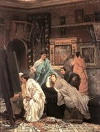 The Collector of Pictures in the Time of Augustus painting reproduction, Sir Lawrence Alma-Tadema