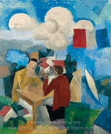 The Conquest of the Air, with Two Characters painting reproduction, Roger De La Fresnaye