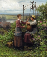 The Conversation painting reproduction, Daniel Ridgway Knight