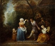 The Country Dance painting reproduction, Jean Antoine Watteau