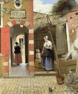The Courtyard of a House in Delft painting reproduction, Pieter De Hooch