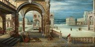 The Courtyard of a Renaissance Palace painting reproduction, Hendrick Van Steenwyck