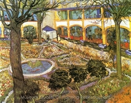 The Courtyard of the Hospital at Arles painting reproduction, Vincent Van Gogh