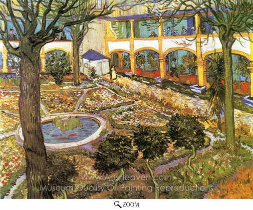 Vincent Van Gogh, The Courtyard of the Hospital at Arles oil painting reproduction