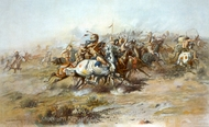The Custer Fight painting reproduction, Charles Marion Russell