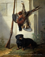 The Dachshound Pehr with Dead Game and Rifle painting reproduction, Jean-Baptiste Oudry