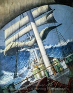 The Deck of the Barque Endymion in a Heavy Sea painting reproduction, Herbert B. J. Everett
