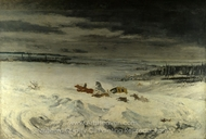 The Diligence in the Snow painting reproduction, Gustave Courbet