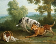 The Dog Carring His Dinner to His Master painting reproduction, Jean-Baptiste Oudry
