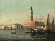 The Doge's Palace from the Lagoon, Venice painting reproduction, Antoine Bouvard