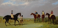 The Doncaster Gold Cup 1825, Lottery, Longwaist, Cedric and Figaro painting reproduction, John Frederick Herring Sr.