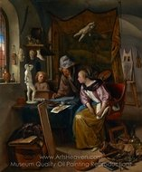 The Drawing Lesson painting reproduction, Jan Steen